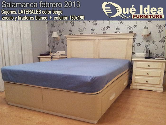 cama canap� tapizada con cajones color beige
