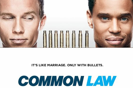 Common Law poster, with the two leading men giving each other sidelong glances
