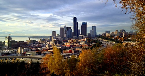 Autumn Afternoon View of the Seattle Skyline From Jose Rizal Park