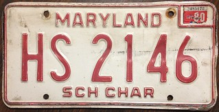 MARYLAND 1980 ---SCHOOL CHARTER BUS LICENSE PLATE
