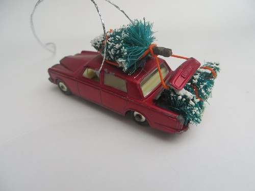 Vintage Matchbox car with trees ornament