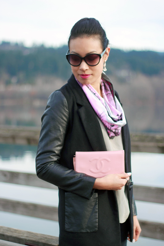 H&M faux leather sleeve blazer, James Jeans moto combo skinny jeans, Marc by Marc Jacobs cat-eye sunglasses, pink Chanel WOC, MAC Candy Yum-Yum lipstick, silver BCBG pumps, fashion, style, Inner Fire AVANI infinity scarf, Vancouver, outfits, fashion blogger