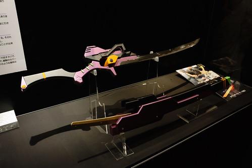這個展的亮點在於有大量有eva 概念的日本刀具試作