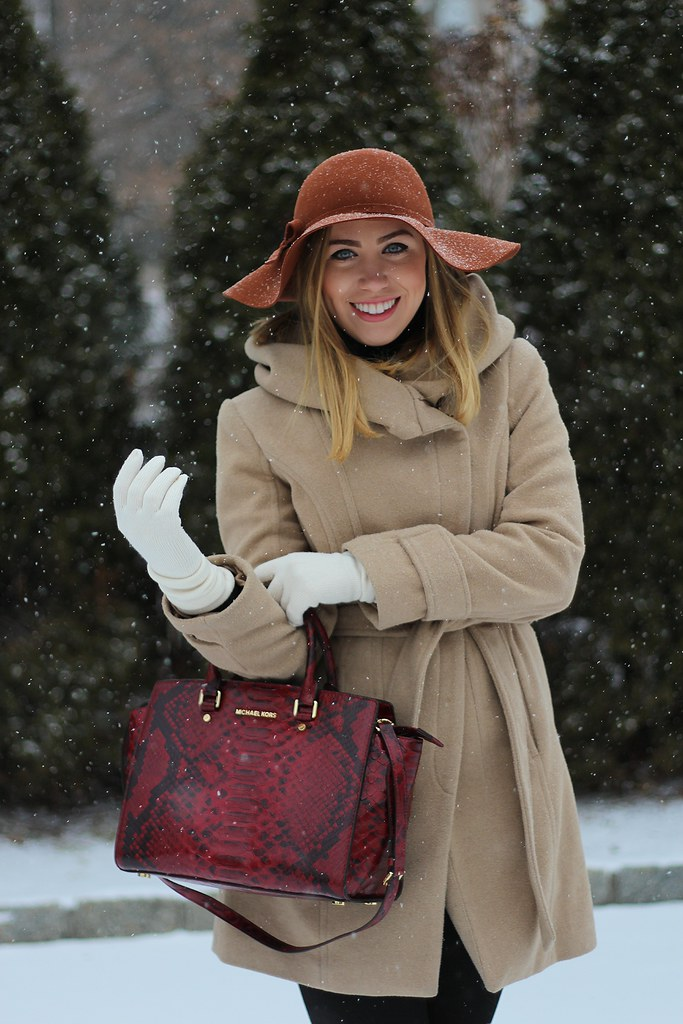 Bundled Up in a Camel Coat & Leather Boots for my January Go-To Outfit on Living After Midnite
