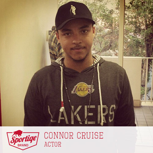 connor cruise clothing style: Lakers sweatshirt