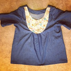 One Esme top finished got to get some cute buttons!! One more waiting for sleeves and top stitching!