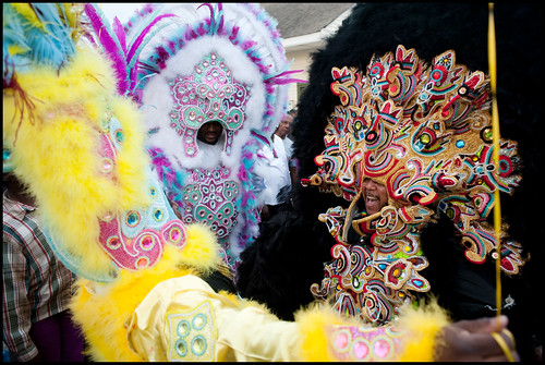 Monogram Hunters Big Chief Pie (right) meets another Big Chief on Saint Joseph's Night in New Orleans 2014. Photo by Ryan Hodgson-Rigsbee www.rhrphoto.com