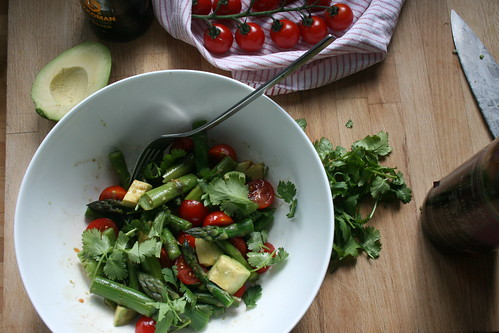 green asparagus, tomato & avocado salad by the james kitchen