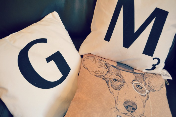 Letterpress and dog cushion style cushion