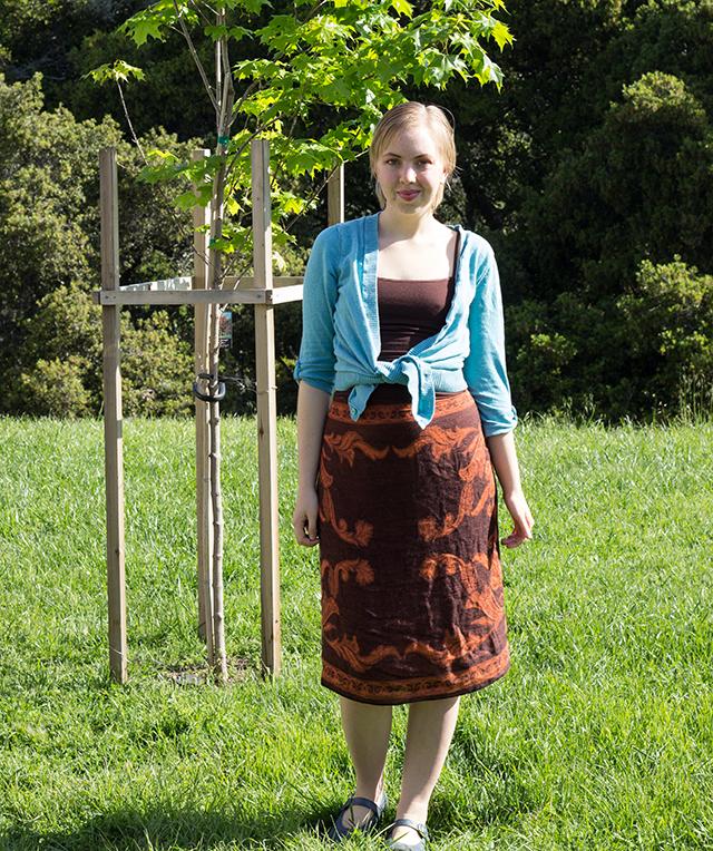 sky blue cardigan, brown patterned sarong skirt