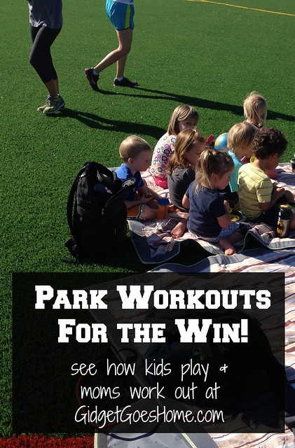 park workouts: kids play and moms work out