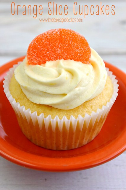 Orange Slice Cupcake on an orange plate.