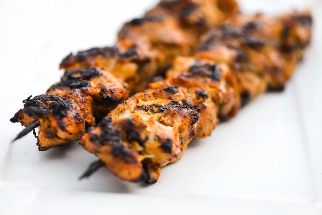 Smoky and Spicy Yogurt Marinated Chicken Skewers