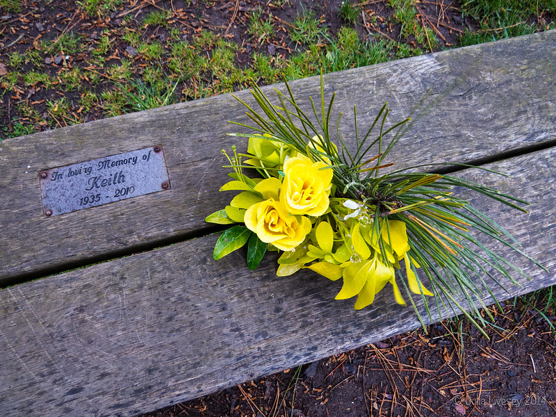 Flowers left on Keith's Bench