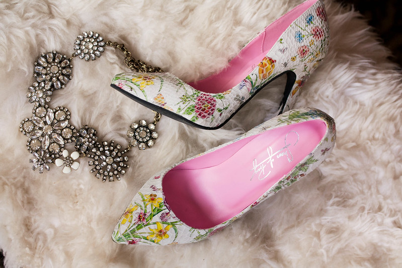 cute & little blog | petite fashion | shoes of prey review | floral stiletto pumps, crystal cluster statement necklace