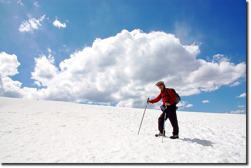 Traversing the snowfield