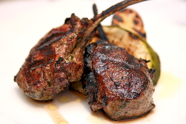 Scottadito: Grilled Australian Lamb Chop, lemon-mint marinade & roasted potatoes