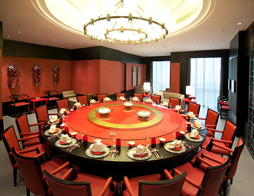 "Red Circular Chinese Table with Red Chair in Private ""House of Fame"" Restaurant at the Crowne Plaza Shanghai Anting Golf"