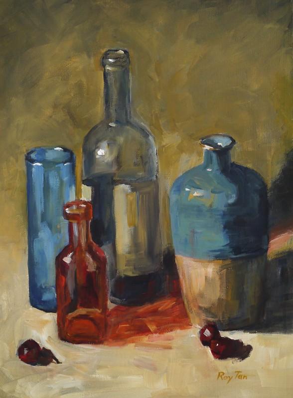 bottles and vase
