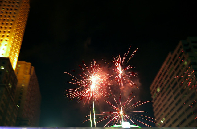 fireworks on Fountain Square