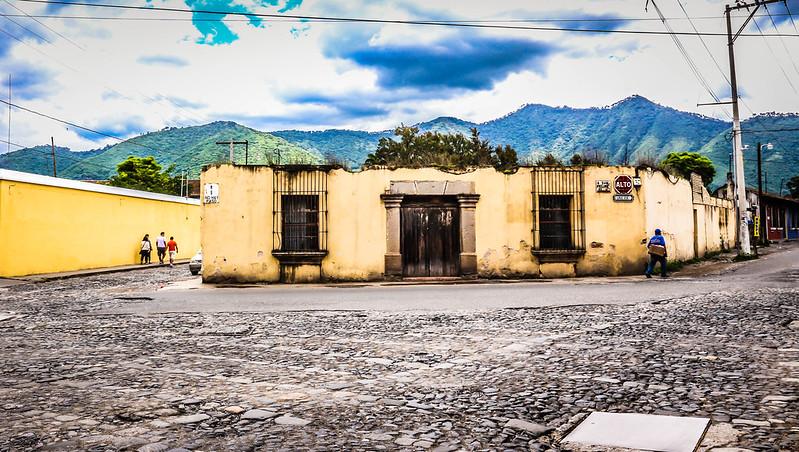 Crumbling corner building in Antigua