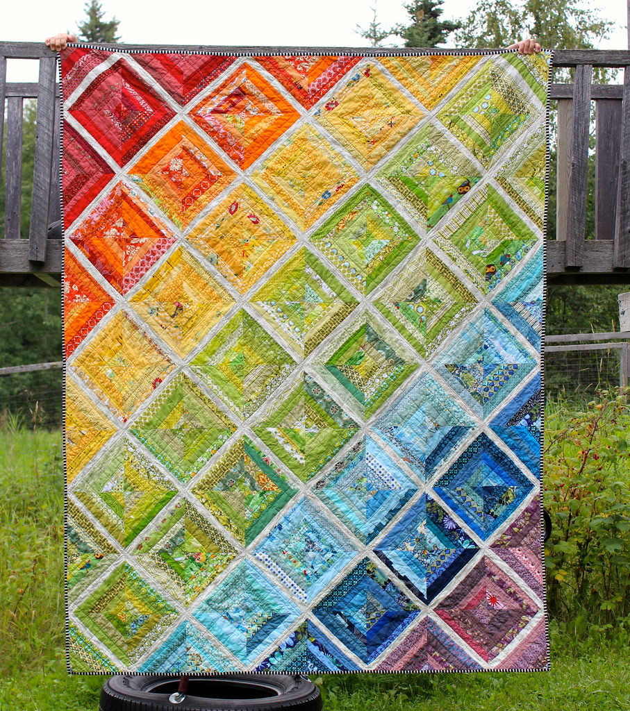 Cora Quilts: Rainbow Scrappy String Quilt is Done!