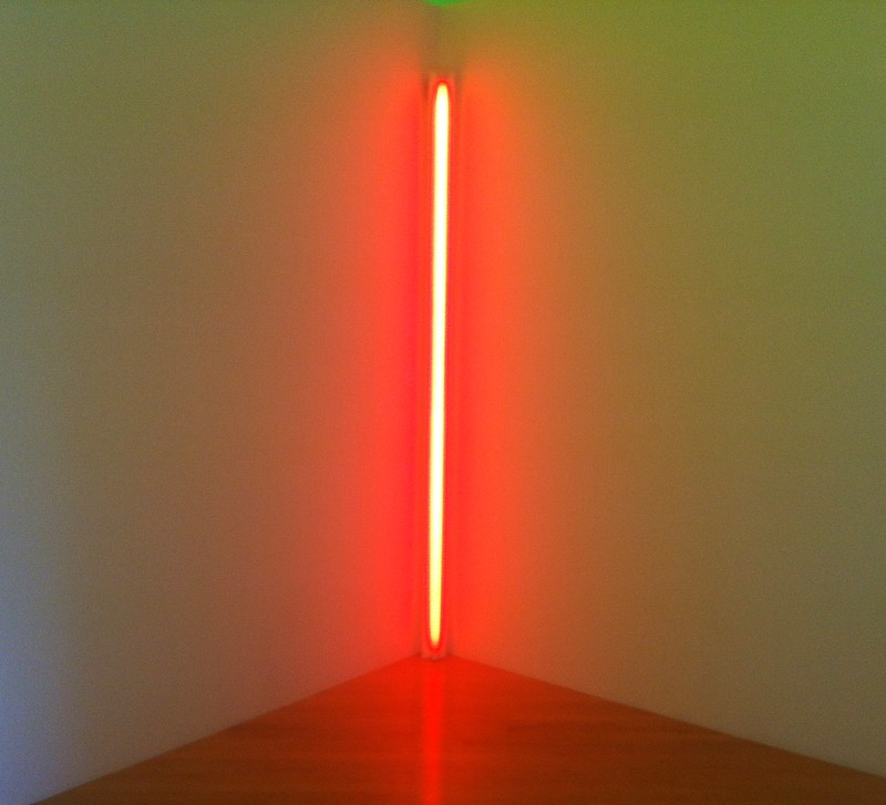 "Dan Flavin, ""red out of a corner (to Annina)"" (1963)"