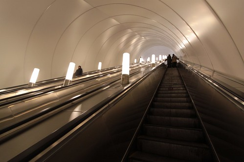 First set of escalators leading out of the station