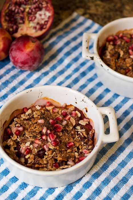 Pluot & Pomegranate Matzo Nut Crisp