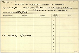 Registration card of the Wellington Domestic Workers' Union'