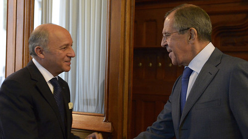 French foreign secretary Laurent Fabius with his Russian counterpart Sergei Lavrov. They strongly disagreed over the use of force in Syria. by Pan-African News Wire File Photos
