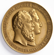 Medal on the silver wedding anniversary of King Charles and Queen Olga of Württemberg obverse