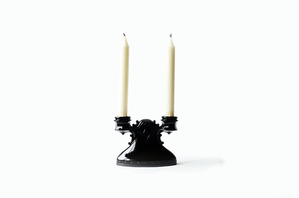 Vintage Black Depression Glass Double Candle Holder