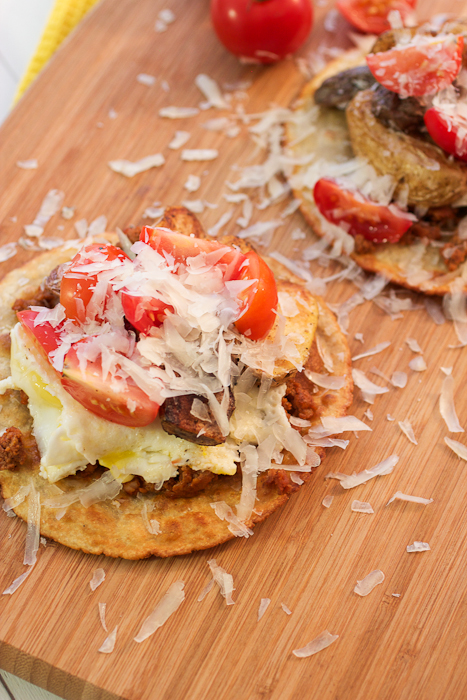 Chorizo and Cumin Roasted Fingerling Potatoes Breakfast Tostadas #CookbookSpotlight #TheNewSouthwest