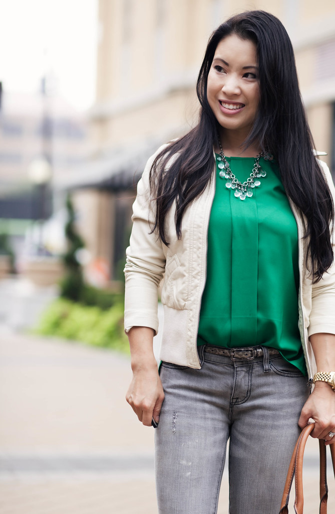 cute & little blog | white moto jacket, green top, grey jeans, emilie m jane satchel outfit #ootd, petite fashion