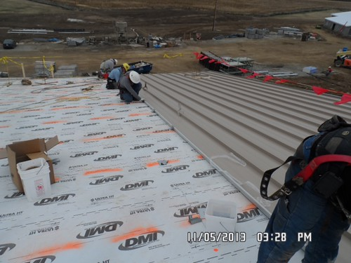 Area A roofing being installed