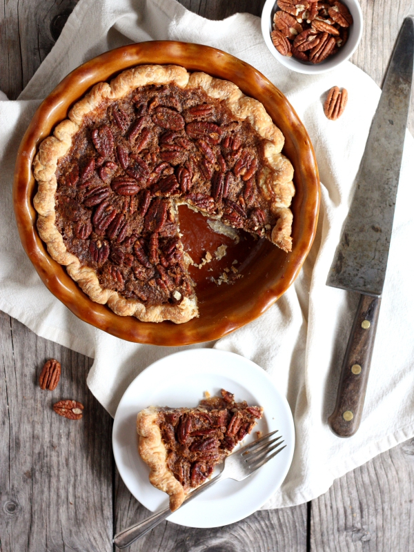 Pecan Pie, a classic pie perfect for your Thanksgiving spread. From completelydelicious.com
