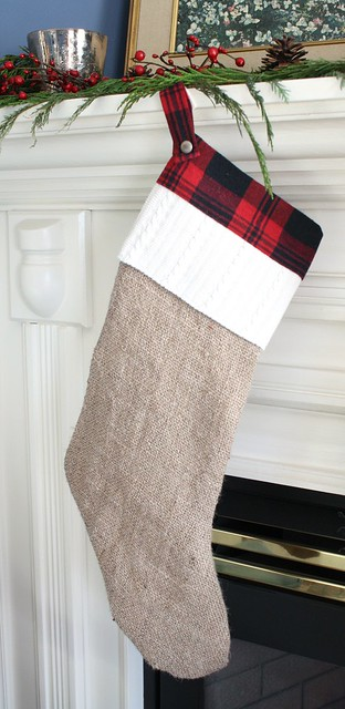 burlap and plaid stocking
