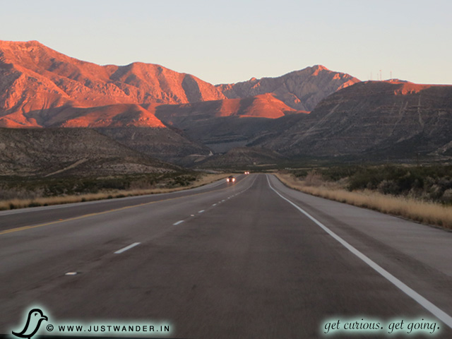 PIC: On the US-180 / US-62E with the Guadalupe Mountain National Park on the horizon.