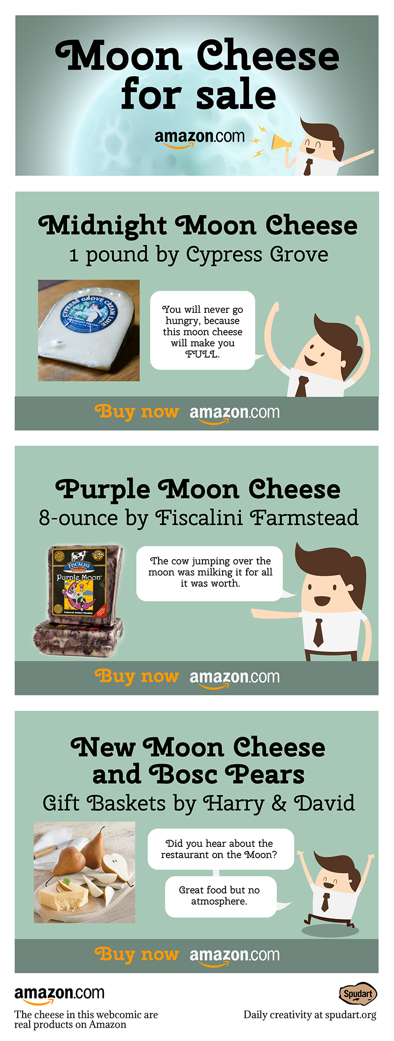 Three different moon cheese gifts for outer space and food lovers