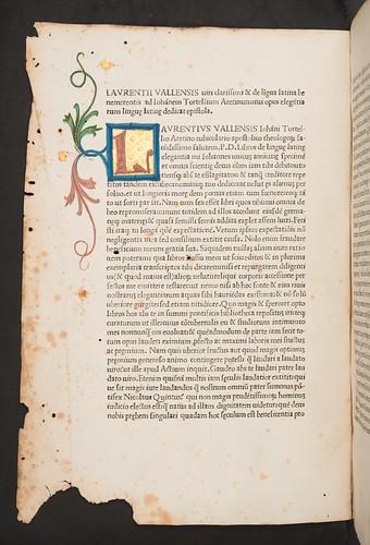 Illuminated initial in Valla, Laurentius: Elegantiae linguae latinae