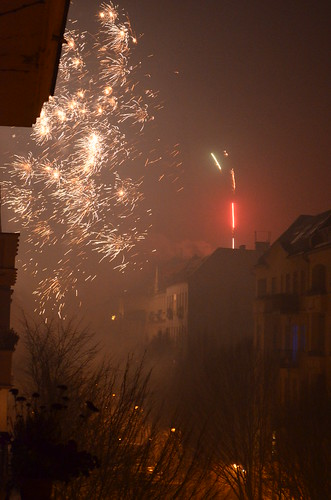 Berlin NYE fireworks neighborhood on fire