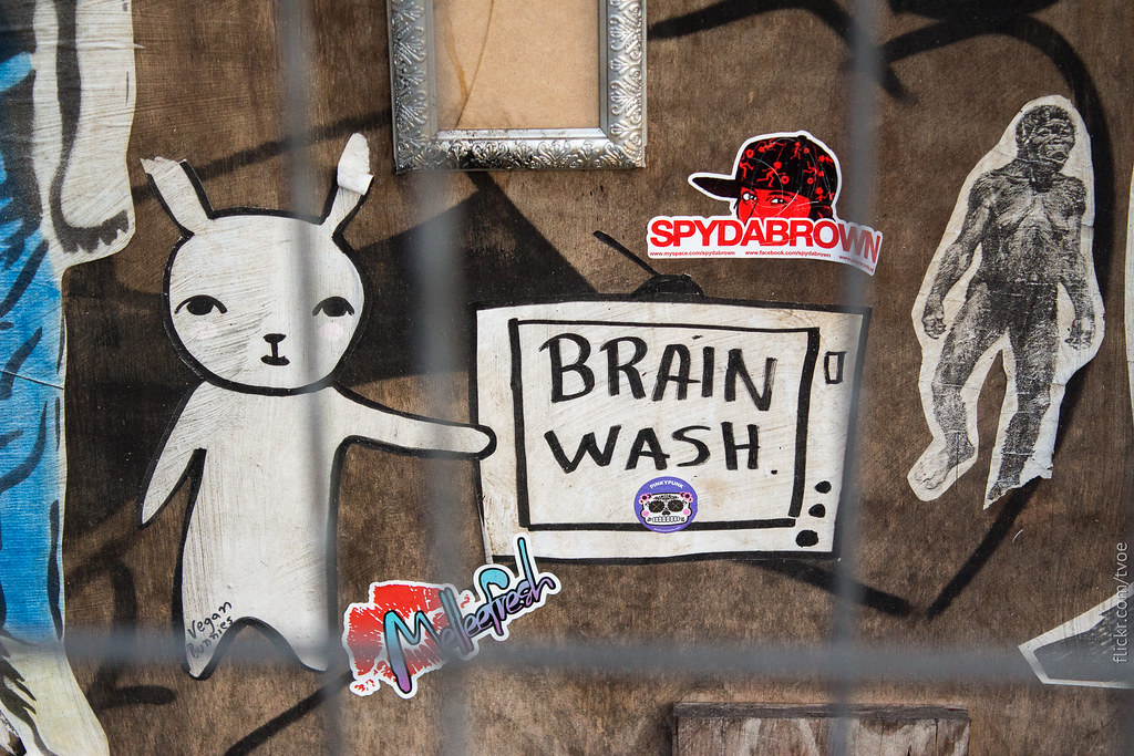 Наклейки в Амстердаме. Brain wash. Промывка мозгов.