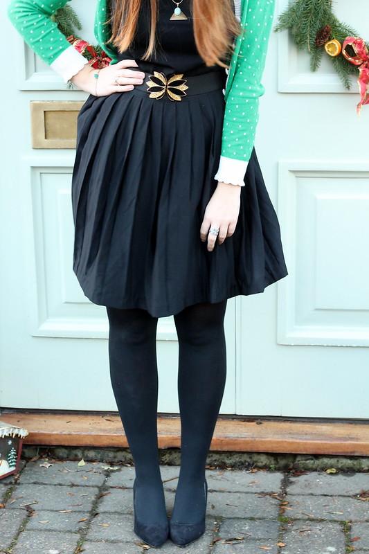 uk fashion bloggers, polka dot cardigan, black dress, heels