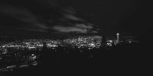 seattle cityscape blackandwhite spaceneedle pacificnorthwest 168 canon pnw bhykrackepark night longexposure clouds buildings wideangle canoneos5dmarkiii samyang14mmf28ifedmcaspherical washington johnwestrock