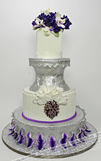 Purple And Silver Ruffle Wedding Cake