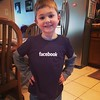 Vito is showing off his new Facebook shirt I got him on my trip to umm, Facebook. #facebookstore #siliconvalley #like #love #cute #future