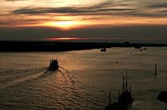 sunset Hamburg harbor