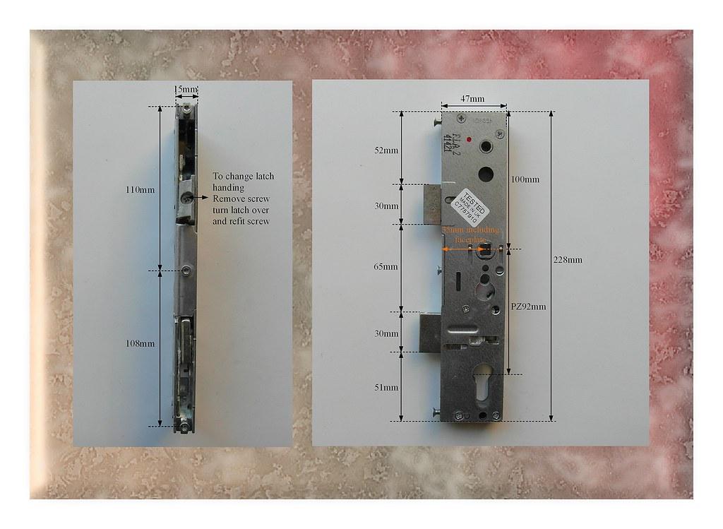 Upvc door lock lockmaster 35mm single spindle lock case for Upvc french door locking mechanism