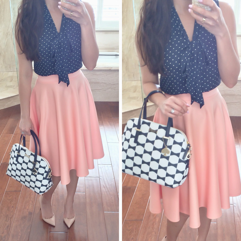Peach and Navy Polka Dots